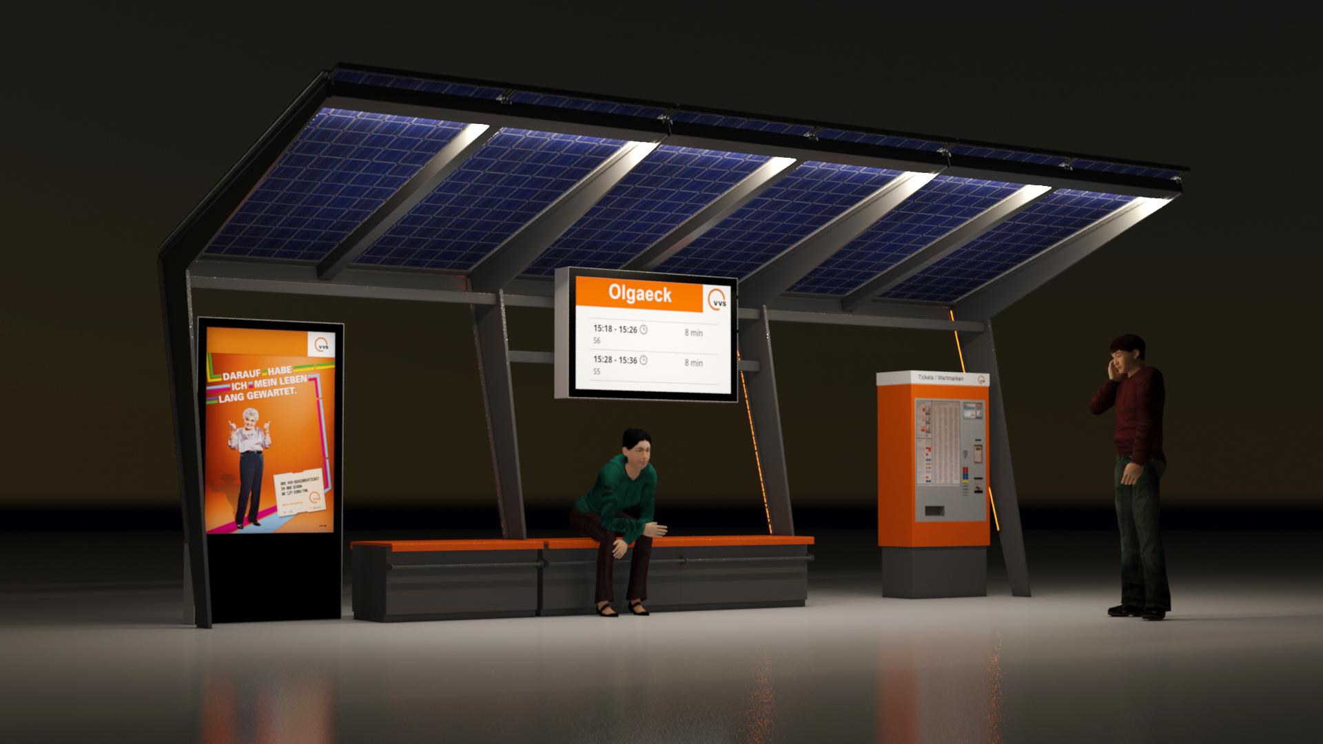 VVS U-Bahnhaltestelle am Abend von der Seite