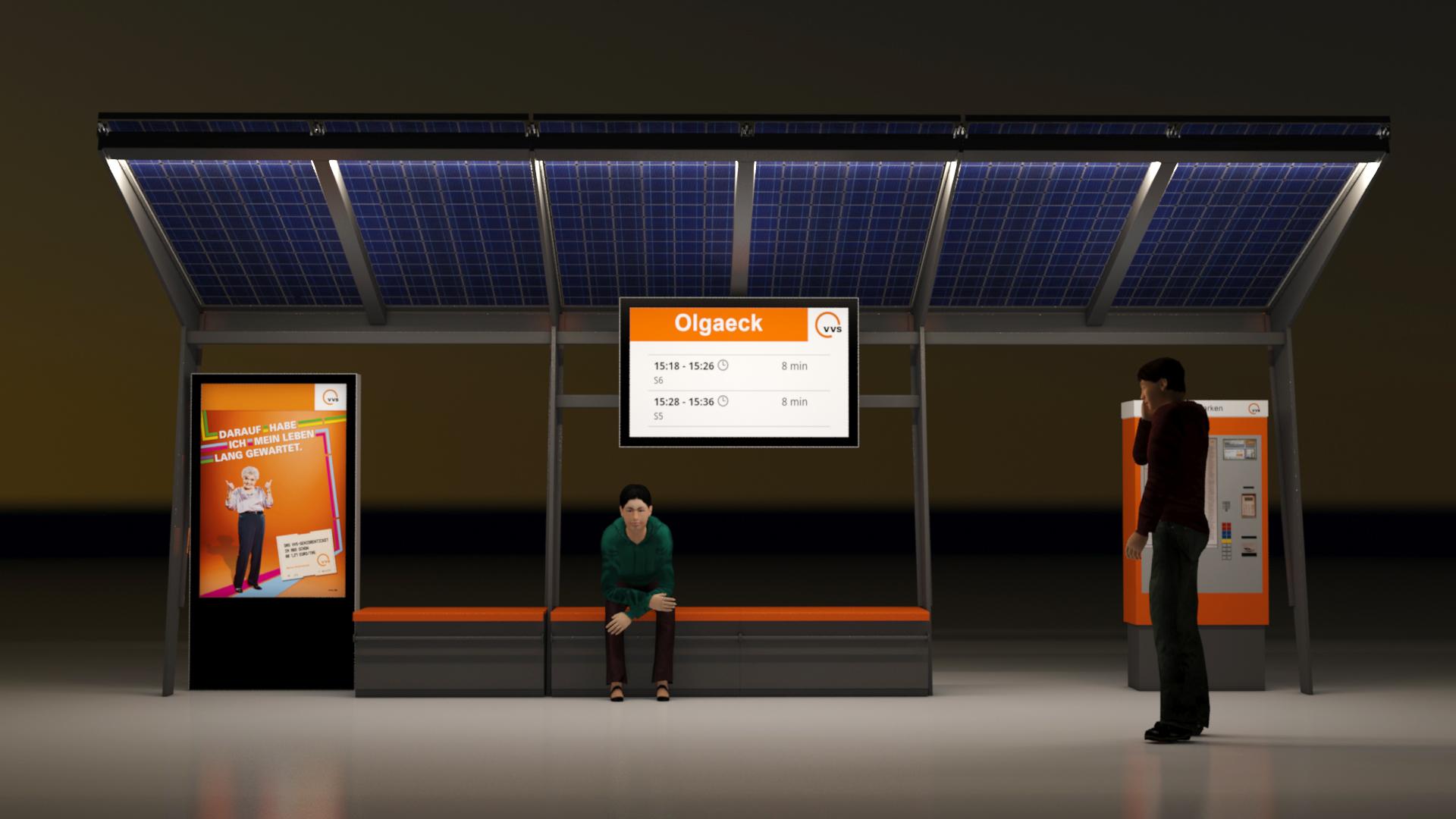 VVS U-Bahnhaltestelle am Abend von vorne