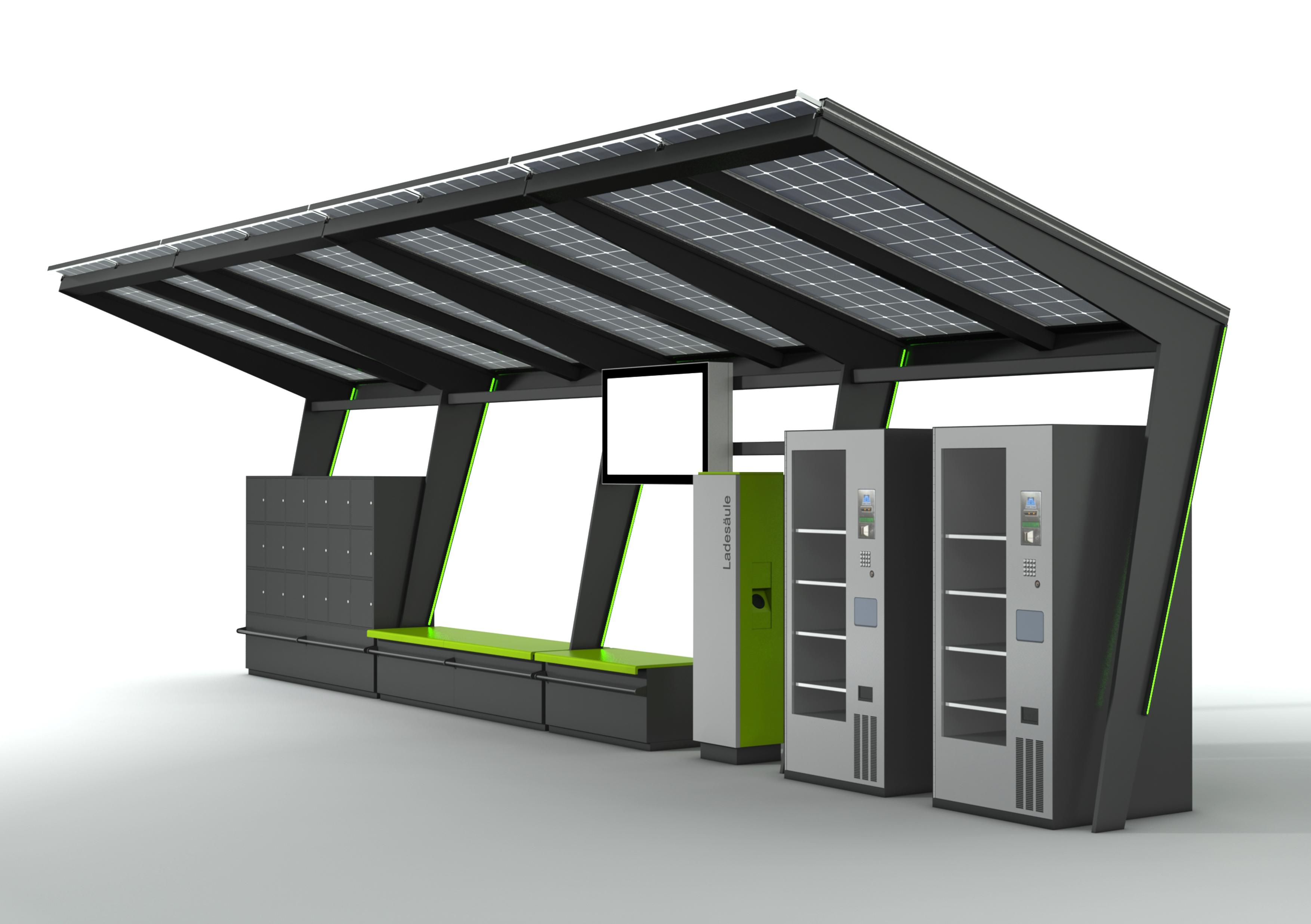 Station-i im vierfachen Design, ausgebaut mit Bildschirm, Ladesäule, Automaten, Bänken und Schließfächern