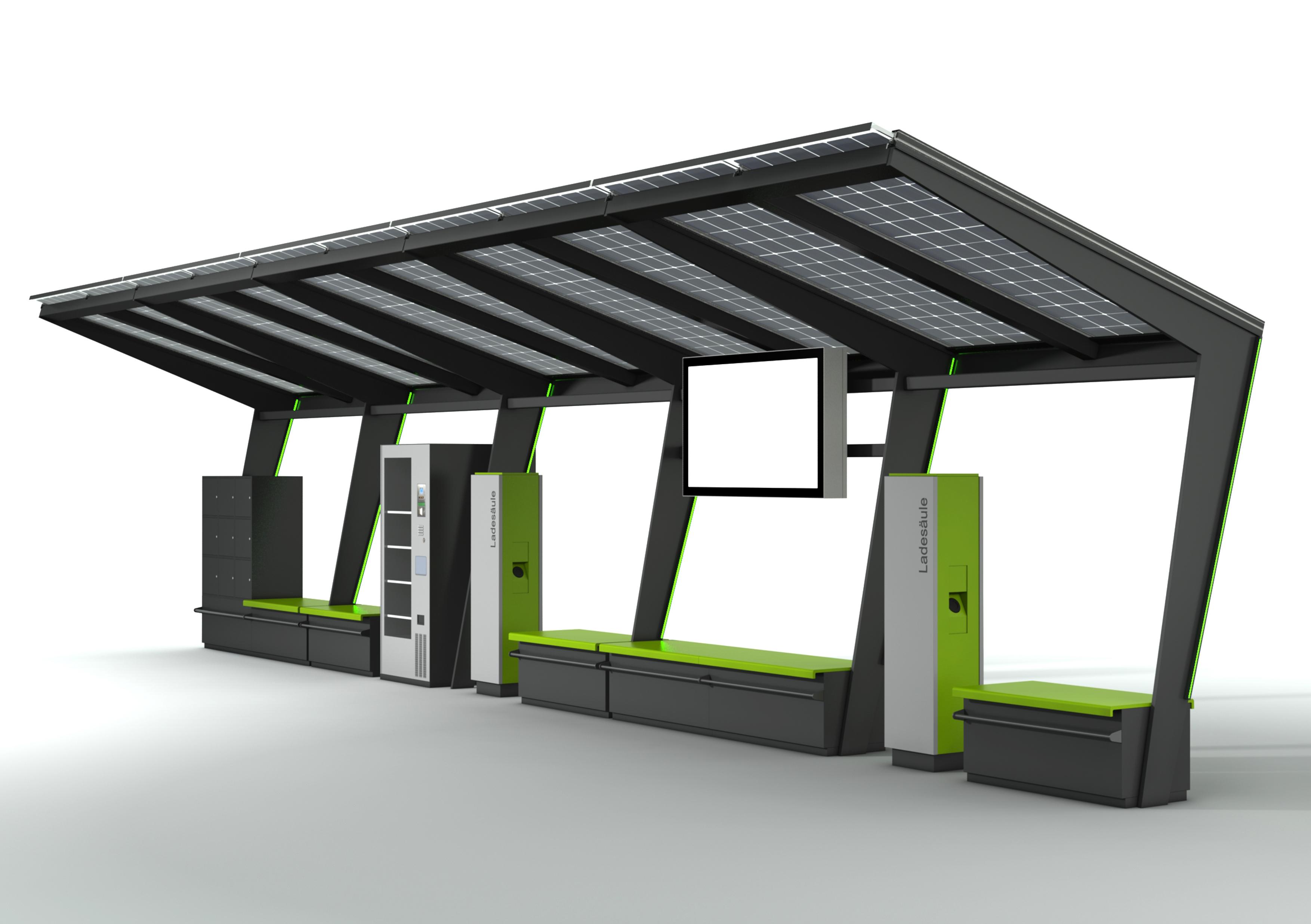 Station-i im fünffachen Look, ausgebaut mit Bildschirm, Ladesäulen, Automat, Bänken und Schließfächern