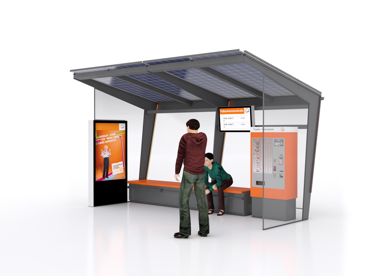 Station-i Bushaltestellenhäuschen von der Seite mit Werbetafel