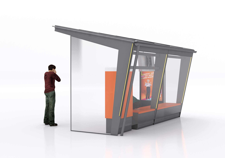 Station-i Bushaltestellenhäuschen von hinten