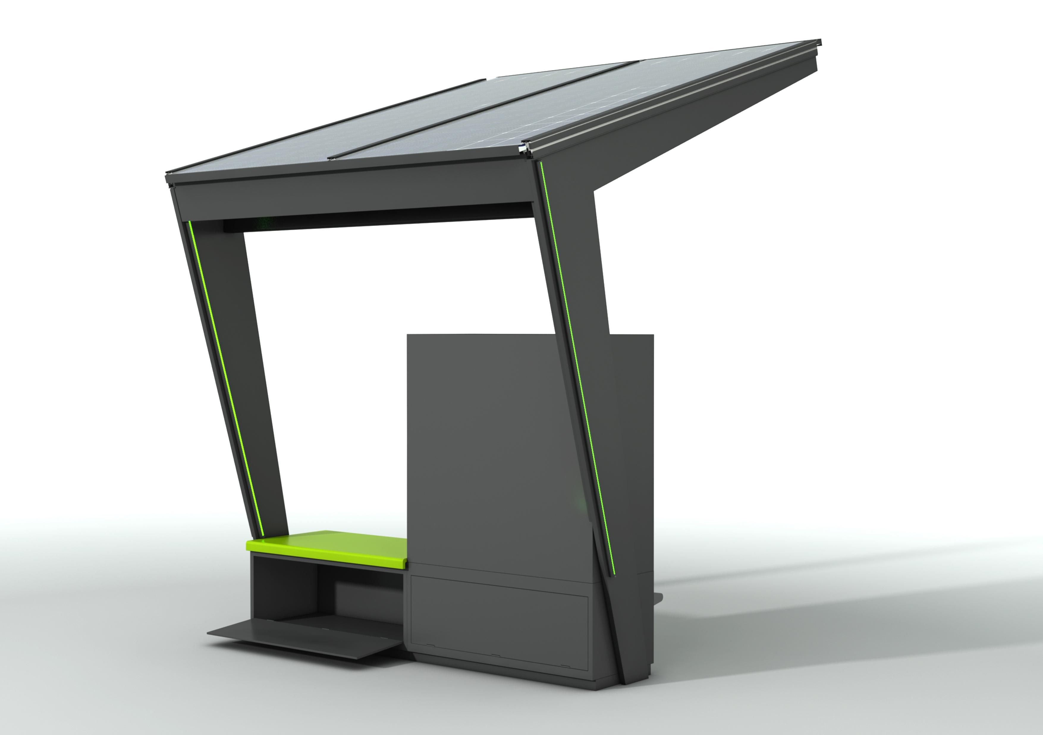 Station-i mit Schließfächer von hinten und offener Bank